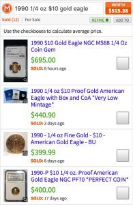 Value of gold eagle coin